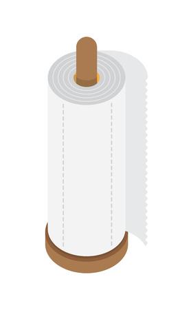 kitchen paper towel, desktop holder, flat style vector