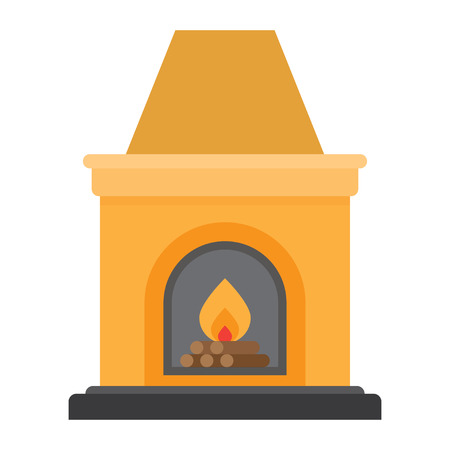 Fireplace flame bright. Christmas hearth with burning fire for house heating. vector illustration Illustration