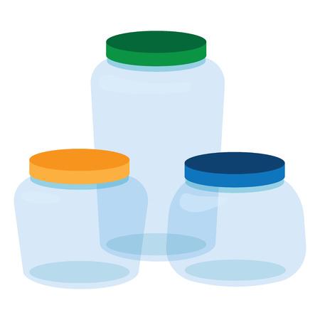 Three, Glass Jars Bottles Empty Transparent. Set of transparent glass bottles, small, Medium and Large. Vector illustration Illustration