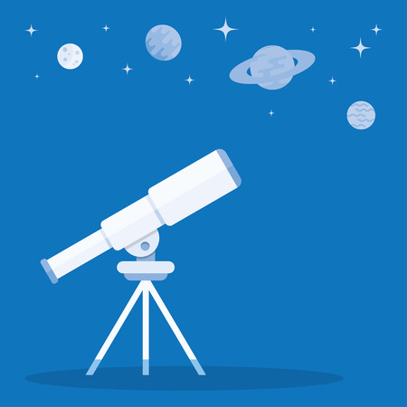 Telescope on tripod and blue stars around. Education and science. Astronomy research. Telescope to observe the stars