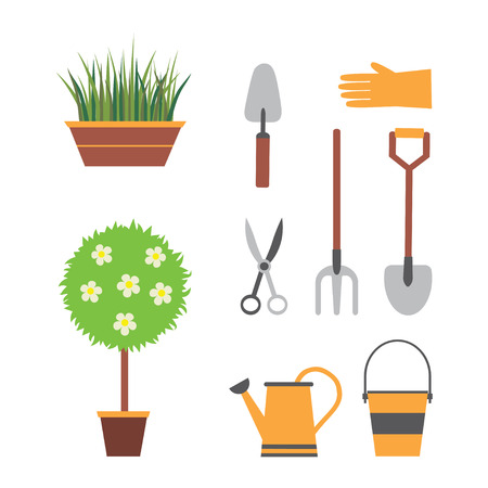 garden tools, gardening, set for garden with plants, shovel, watering can, bucket forks scissors