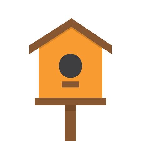 nesting box: vector illustration of bird house, nesting box bird house, homemade building for birds, birdhouse handmade object