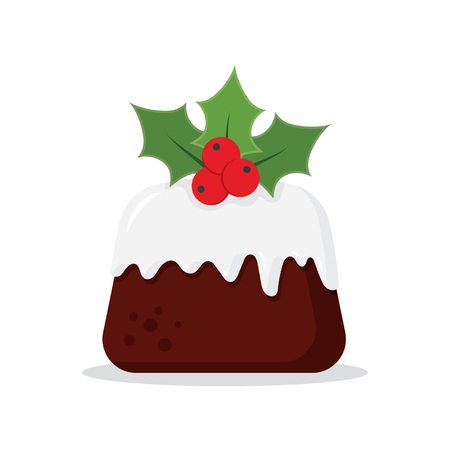 Traditional Christmas Pudding with Holly, vector illustration