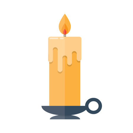 candlestick: Candle in candlestick isolated illustration on white background Illustration