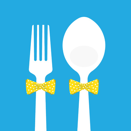 butterfly knife: fork and spoon with butterfly tie, vector illustration on a blue background Illustration
