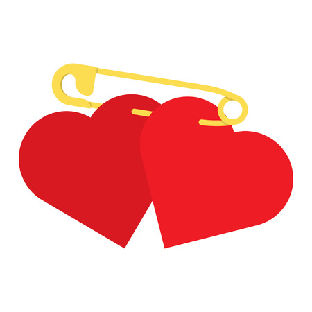 two red hearts fasten together by a safety pin. Two Hearts, Falling in Love