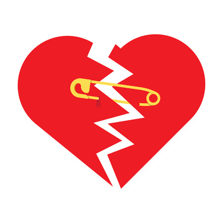 mend: Using Safety Pin to Keep Together a Broken Heart. Metaphorically trying to mend a broken in half red heart with safety pin. Flat design, on white background