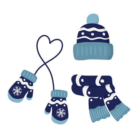 winter knitted mittens, beanie hat with pom pom and scar, set in blue color vector illustration