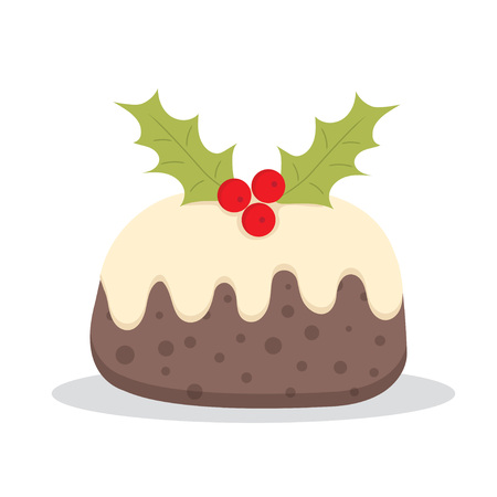 Traditional Christmas Pudding with Holly, vector illustration Çizim