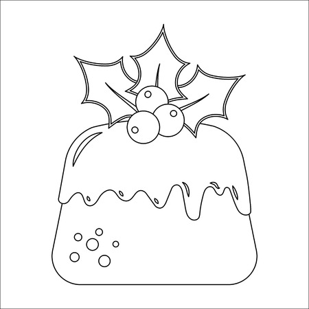 Traditional Christmas Pudding with Holly, vector illustration symbol in contour style for winter design and coloring book.