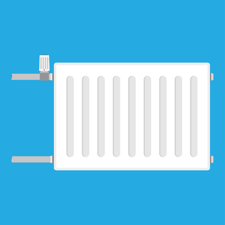 gas radiator: Heating radiator. metal radiator for heating systems. on a blue background. Vector illustration.