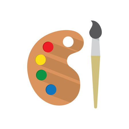 Palette with Paint brush, Icon with Long Shadow. Painting and Drawing Tool. Vector illustrations Illustration
