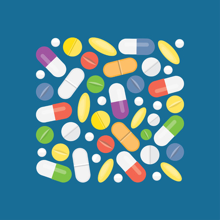 Heap of medical pills and tablets, capsules, drug. Different medications. Vector illustration. Flat style Ilustracja