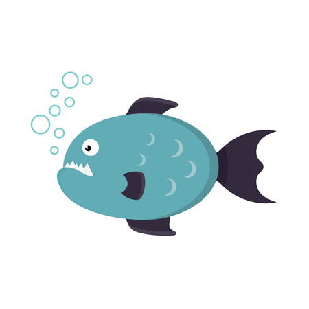 toothy: toothy piranha fish on a white background, in a flat style, vector illustration Illustration