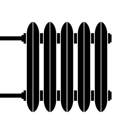 power supply unit: Heating radiator. Cast-iron radiator for heating systems. Vector illustration.