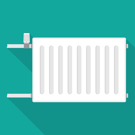 conformity: Heating radiator. metal radiator for heating systems. on a blue background. Vector illustration.