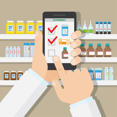 The concept of online pharmacy. Vector illustration in flat style