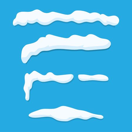 snowdrifts: Set of Isolated snow caps. Snowdrifts, icicles, Vector Illustration