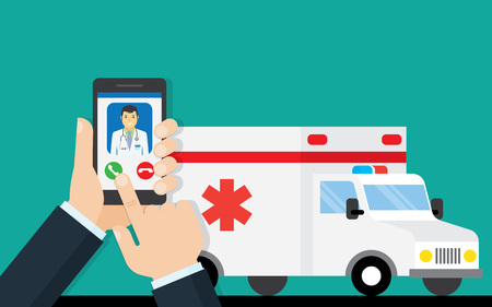 call ambulance car via mobile phone, concept emergency call. Smartphone in hand with doctor and ambulance car behind. flat design vector illustration