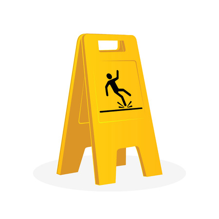 hombre cayendo: Wet floor sign, falling man. Cleaning. Isolated flat vector illustration Vectores