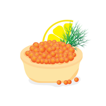 russian cuisine: Red caviar in a tartlet appetizer for buffet. Vector illustration isolated on white background.