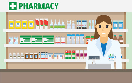 Woman pharmacist at the counter in a pharmacy opposite the shelves with medicines. vector illustration