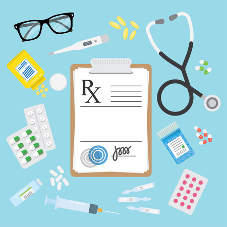 Empty medical prescription Rx form and Stethoscope, medicines, pills, tablets, ampulla, bottles, troches isolated. Healthcare. Vector illustration Flat style