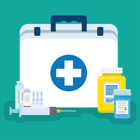 healthcare and medicine: Medicine, medical kit, healthcare vector illustration icons