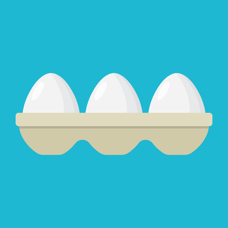 Eggs in a tray, carton of white eggs. Vector Illustration
