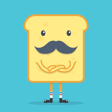 toast bread with mustache, Funny Cartoon. vector illustration