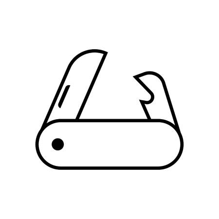 temperino: coltello da tasca su sfondo bianco. Illustrazione vettoriale.
