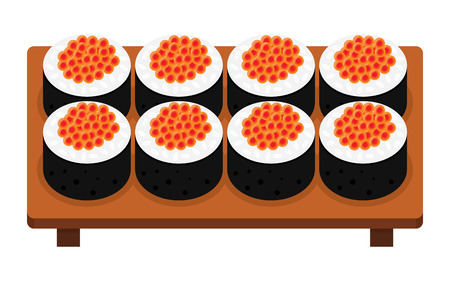 Sushi roll with caviar, japanese food. vector illustration. Isolated on white background