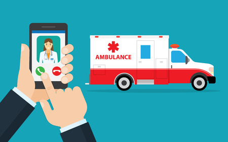 medical device: call ambulance car via mobile phone, concept emergency call. Smartphone in hand with doctor and ambulance car behind. flat design vector illustration