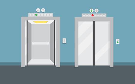 Open and closed elevator doors. Flat design, vector illustration Stock Vector - 71026654