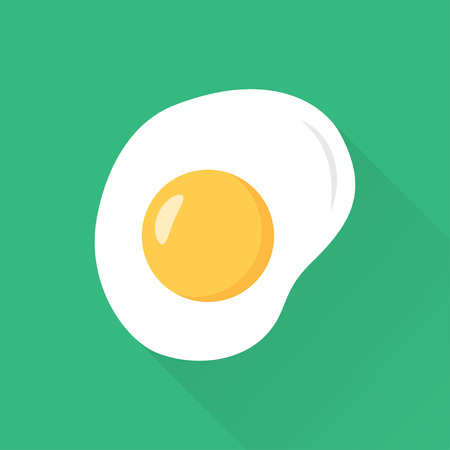 fried eggs flat style with long shadow, vector illustration