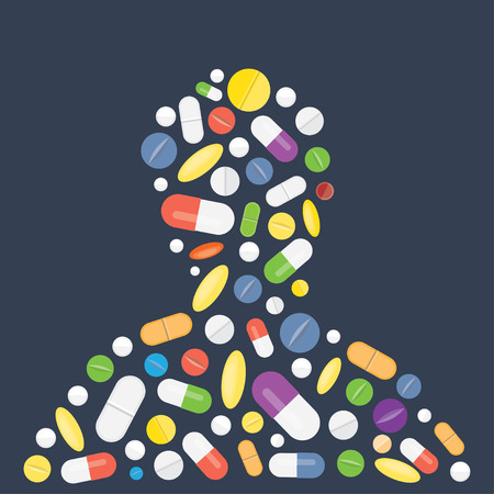 laid: Different medical pills capsules and tablets, laid out in the shape of human silhouettes, vector illustration