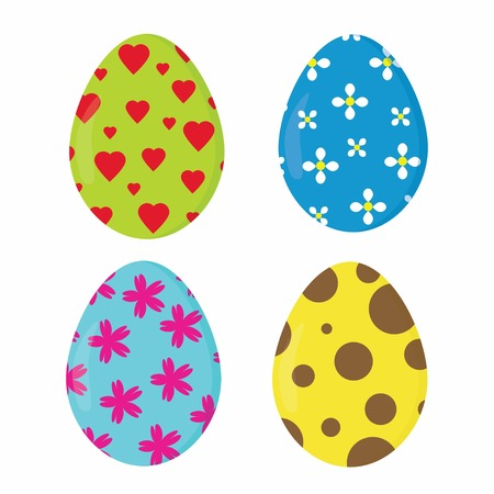 happy with Colorful Eggs, super easter egg set on the wight Illustration