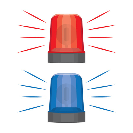 Blue and red flashing warning lights and sirens. flashing lights for alarm or emergency cases, vector illustration Illustration