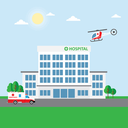 City hospital building or clinic, ambulance car and helicopter. Vector Illustration