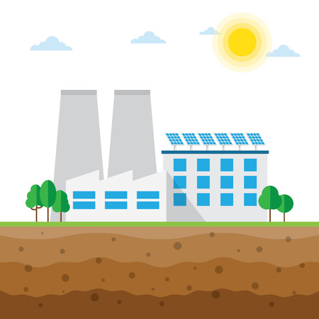 powered: Plant powered by solar energy. Renewable energy vector illustration.
