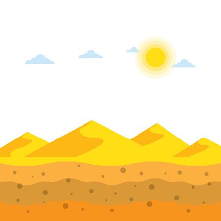 Landscape yellow sand dunes at desert, soil profiles, vector illustration