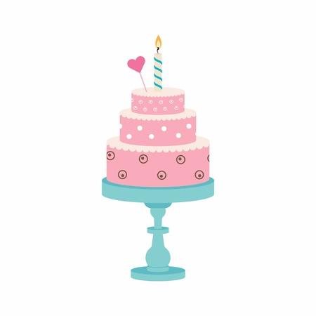 bougie coeur: gâteau d'anniversaire avec bougie et coeur, joyeux anniversaire, fête, bonbons, dessert, gâteau sur le stand