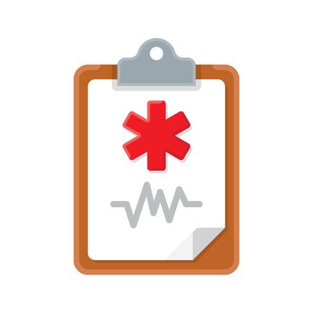 electrocardiograma: Medical clipboard icon. Healthcare concept. Medical document. Vector illustration Vectores