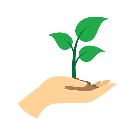 Pousse verte à la main. Concept d'écologie. Illustration vectorielle Isolé sur fond blanc Vecteurs