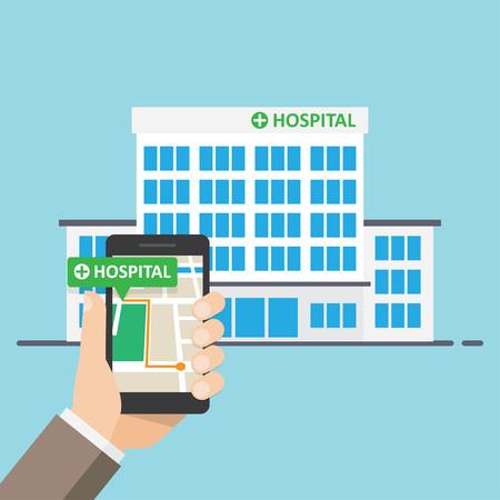 Krankenhaus, Apotheke Pointer auf Karte Ort. Finden Sie am nächsten auf dem Stadtplan. Vektor-Illustration