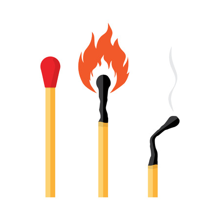 matches burning and burnt match sticks on white background. Vector illustration
