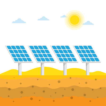 panels: Solar panels in the desert, Alternative energy, vector illustration. Illustration