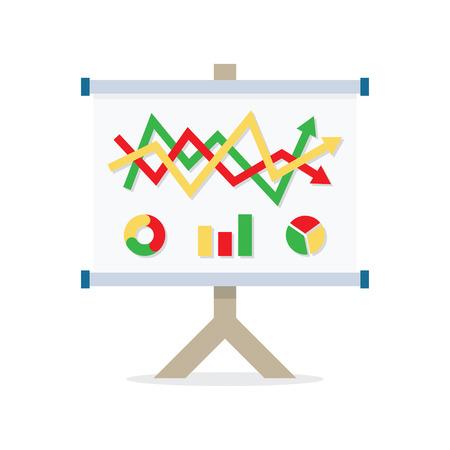 Presentatie whiteboard met marktgegevens en statistieken voor toekomstige marketingcampagnes en bedrijfsstrategieën. Platte pictogram modern design stijl vector illustratie concept.
