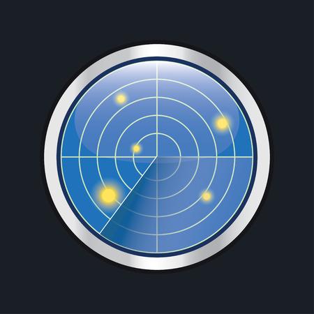 Radar screen. HUD interface element. Radar display with scanning. Vector illustration isolated on black. Illustration