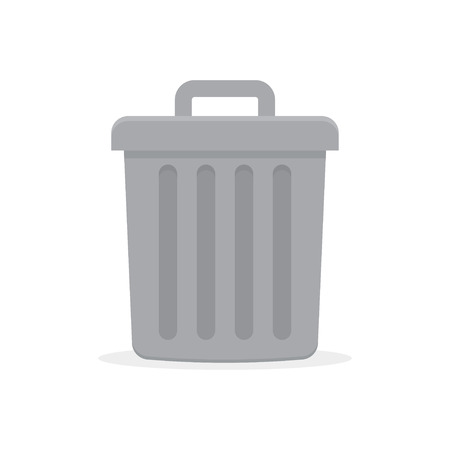 Gray trash can with lid